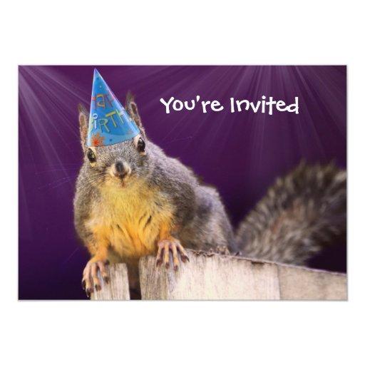 Birthday Squirrel Photo Custom Invites