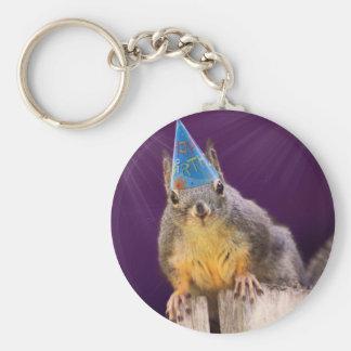 Birthday Squirrel Photo Keychain
