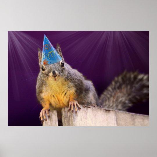 Birthday Squirrel Photo Poster