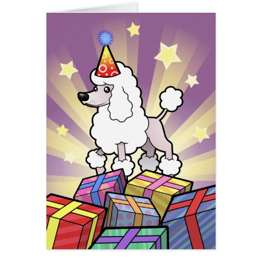 Birthday Standard/Miniature/Toy Poodle (show cut) Greeting Card