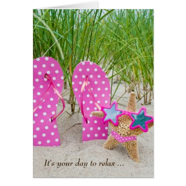 Beach Themed birthday starfish and flip-flops in sand card