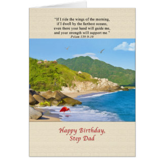 Birthday, Step Dad, Beach, Hills, Birds, Ocean Greeting Card