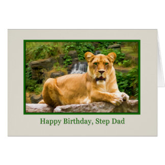 Birthday, Step Dad, Lion on a Rock Card