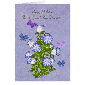Birthday, Step Daughter, Butterflies and Flowers Card