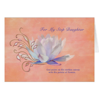 Birthday, Step Daughter, Water Lily, Religious Card