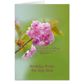 Birthday, Step Mom, Cherry Blossoms, Religious Card