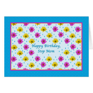 Birthday, Step Mom, Pink and Yellow Daisies Card