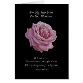 Birthday, Step Mom, Pink Rose on Black Card