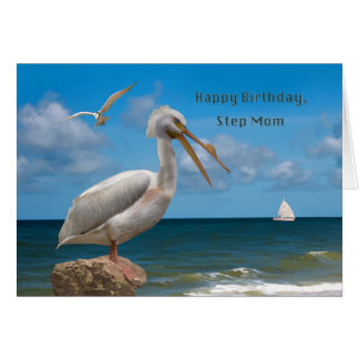 Birthday, Step Mom, White Pelican on a Rock Card