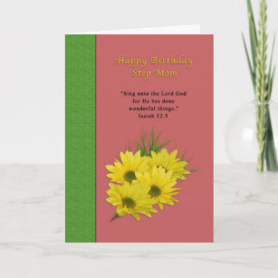 Birthday Step Mom Yellow Daisies Religious Card