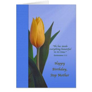 Birthday, Step Mother, Golden Tulip Flower Greeting Card