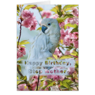 Birthday, Step Mother, White Parrot in Crab Apple Greeting Card