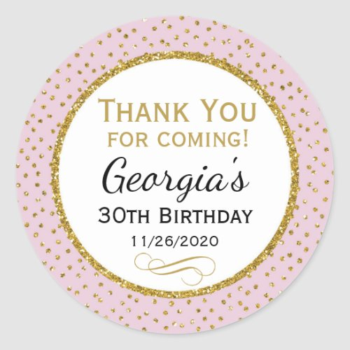 Birthday Stickers Pink Gold Thank You Favor Tags