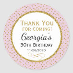 "Birthday Stickers Pink Gold Thank You Favor Tags<br><div class=""desc"">Elegant birthday stickers featuring pink and gold glitter polka dots and sophisticated gold glitter accent frame. These fashionable and stylish birthday stickers will be a hit for any birthday party decor and as favor tags. Great for 21st 30th 35th 40th 45th 50th 60th 65th 70th 75th 80th 85th 90th 95th,...</div>"