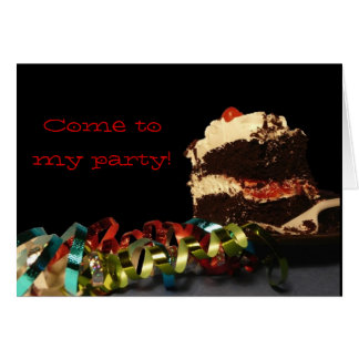 Birthday streamers and Cake Invite