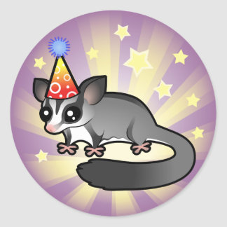 Birthday Sugar Glider Classic Round Sticker