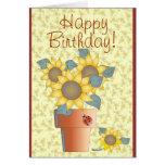 BIRTHDAY SUNFLOWERS by SHARON SHARPE Greeting Card