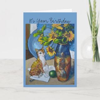 Birthday Sunflowers Cat Cards