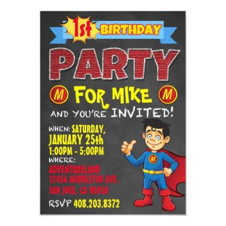 Birthday Superhero Invitations. Kid Birthday Party Invitation