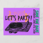 """Birthday Surprise Party 60s Save the date Announcement Postcard<br><div class=""""desc"""">Vintage customizable Surprise Party Save the date Postcard with a retro illustration of record player. 60s style.       60th Birthday 60s Let&amp;#39;s Party Save the date Postcard by Vintage_Graphic_Art  Browse Surprise party save the date Postcards online at Zazzle.com </div>"""