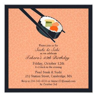 Birthday Sushi Party Flat Invitation