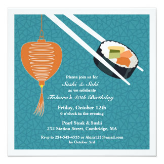 Birthday Sushi Party Flat Invitation