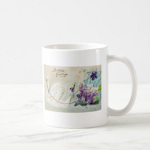 Birthday Swan Postmarked 1910 Coffee Mug