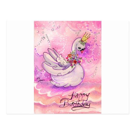 Birthday Swan Watercolor Postcard