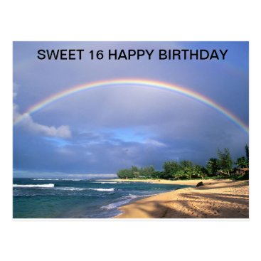 Birthday/ Sweet 16/ rainbow over beach postcard