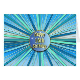 Birthday - Sweet 16th - Sunburst - Blues/Golds Greeting Card