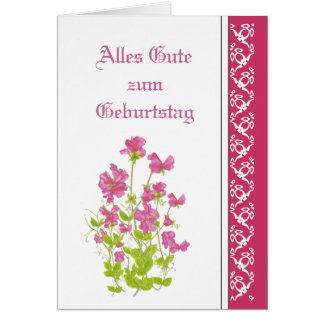 Birthday, Sweet Peas, Garden Flowers German Card