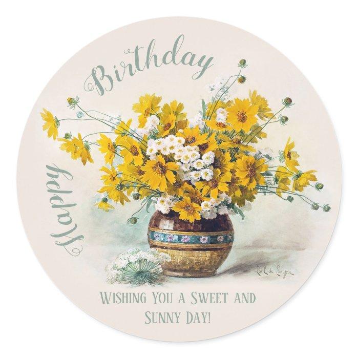 Birthday Sweet & Sunny De Longpre flowers CC1014 Classic Round Sticker