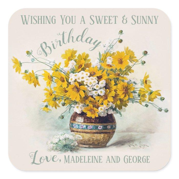 Birthday Sweet & Sunny De Longpre flowers CC1015 Square Sticker