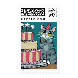 Birthday Tabby Cat with Cake Postage