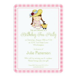 Birthday Tea Party Invitation Little Girls Pink 1