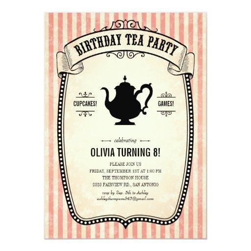 Birthday Tea Party Invitations