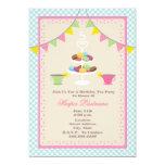 "Birthday Tea Party + Macarons Invitation - Blue 5"" X 7"" Invitation Card"