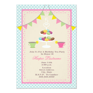 Birthday Tea Party + Macarons Invitation - Blue