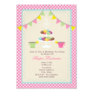 Birthday Tea Party + Macarons Invitation - Pink