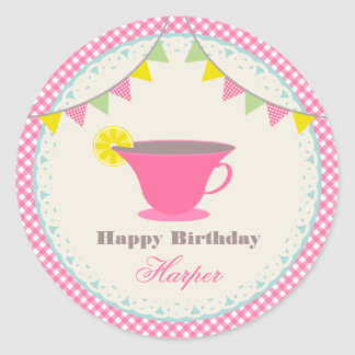 Birthday Tea Party Pink Gingham Classic Round Sticker
