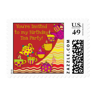 Birthday Tea Party Postage Stamps