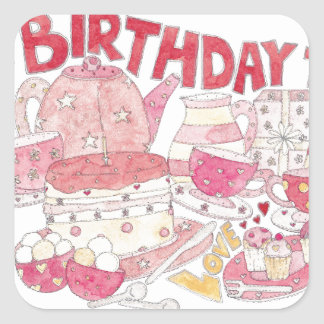 Birthday Tea Square Sticker