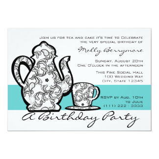 Birthday Tea with Changable Color 5x7 Paper Invitation Card