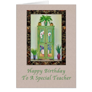 Birthday, Teacher, Still Life with Antique Cabinet Card