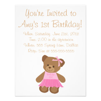 Birthday Teddy Bear With Pink Tutu Personalized Invitation