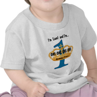 Birthday Tee for One Year Old Blue Gold Crown