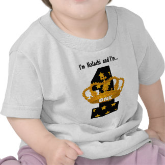 Birthday Tee for One Year Old GOLD Crown and Stars
