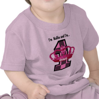 Birthday Tee for One Year Old PINK Crown Checks 2