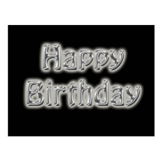 birthday text black and silver postcard