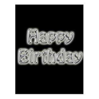 birthday text black and silver post cards